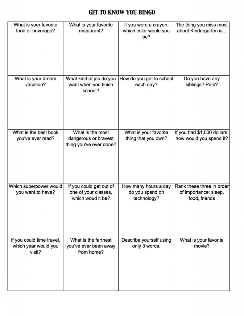 Get To Know You Bingo (c) Kristen Dembroski