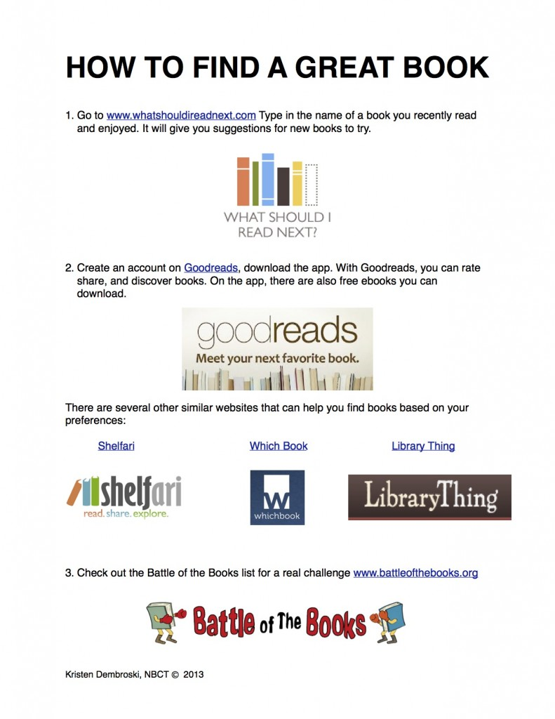 How To Find a Great Book (c) Kristen Dembroski