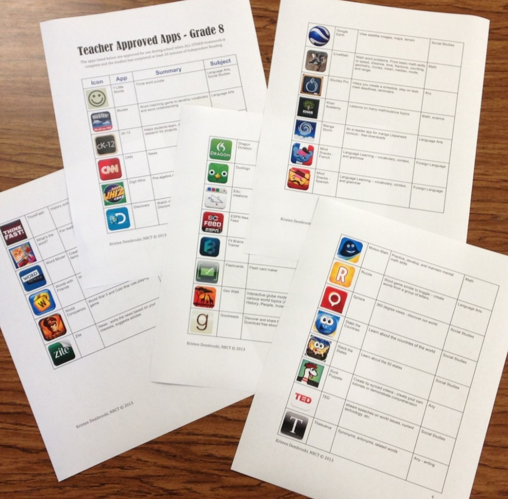 Teacher Approved Apps (c) Kristen Dembroski