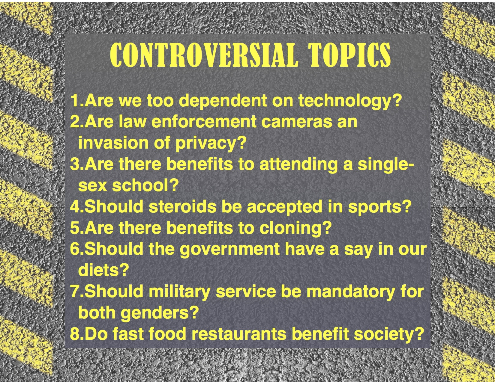 controversial issue essay topics