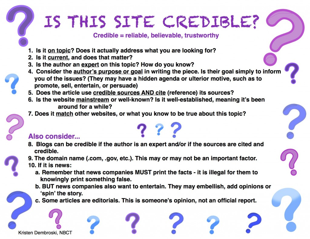 Evaluating website credibility essay