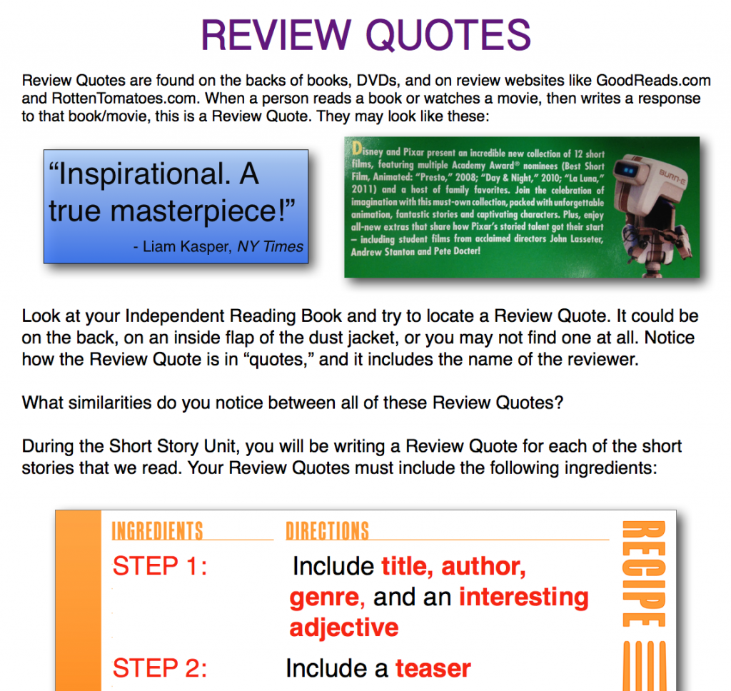 Review Quotes (c) Kristen Dembroski