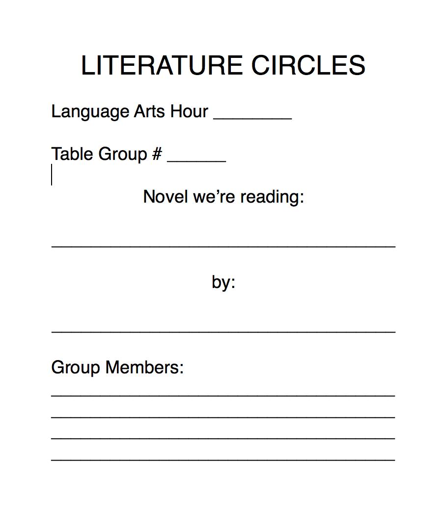 Worksheets Literature Circles Roles Worksheets literature circles kristen dembroski ph d